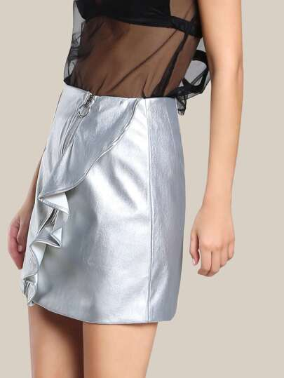 o ring faux leather skirt silver shein sheinside