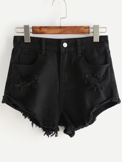 Roll Cuff Ripped Denim Shorts