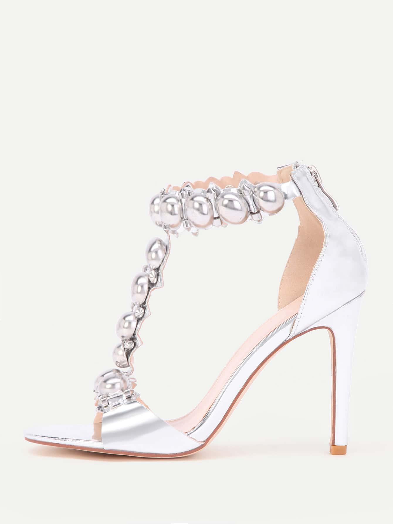 Metallic T Strap High Heels shoes17070306