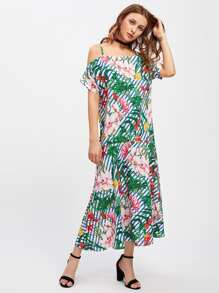 Vertical Striped Jungle Print Frill Hem Dress
