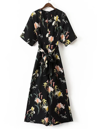 Floral Print Jumpsuit With Self Tie