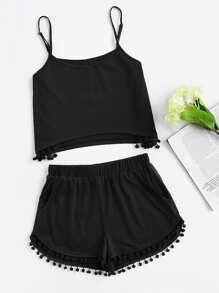 Pom Pom Detail Cami And Shorts Set