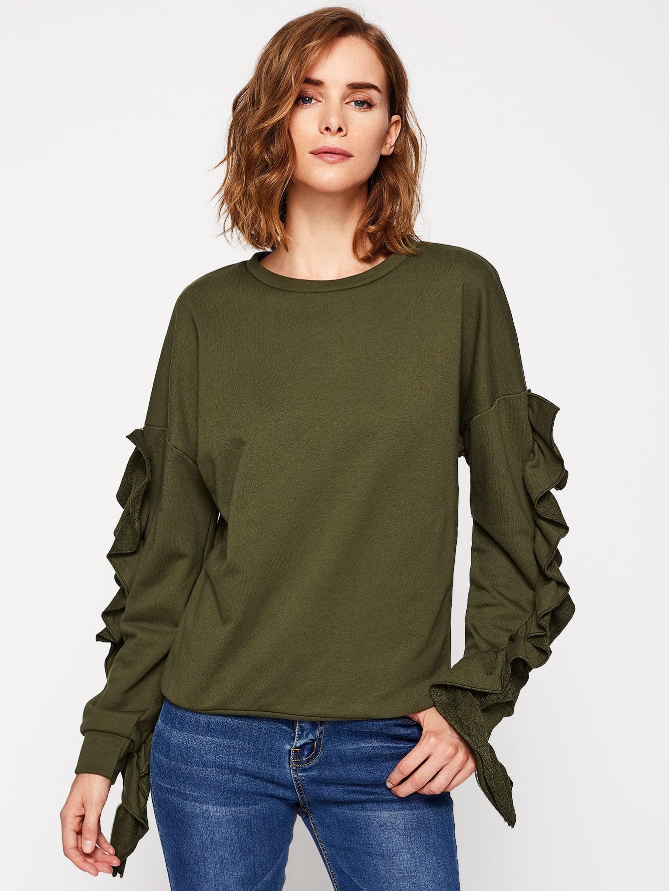 Drop Shoulder Frilled Pullover drop shoulder frilled sleeve sweatshirt
