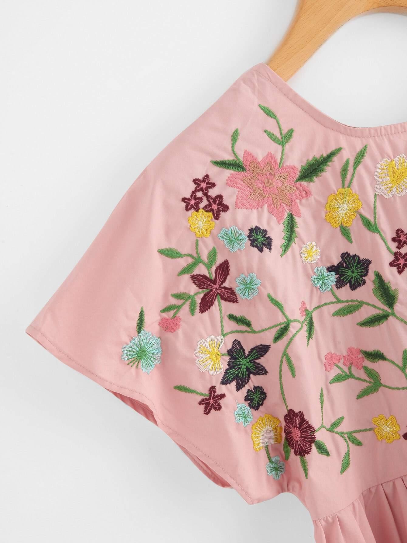 Flower embroidered tie up v back smock dressfor women romwe