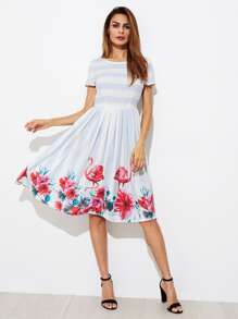 Mixed Print Fit & Flare Dress