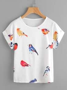 Random Birds Print Cuffed T-shirt