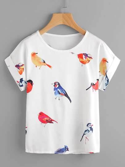 Random Birds Print Cuffed T-shirt