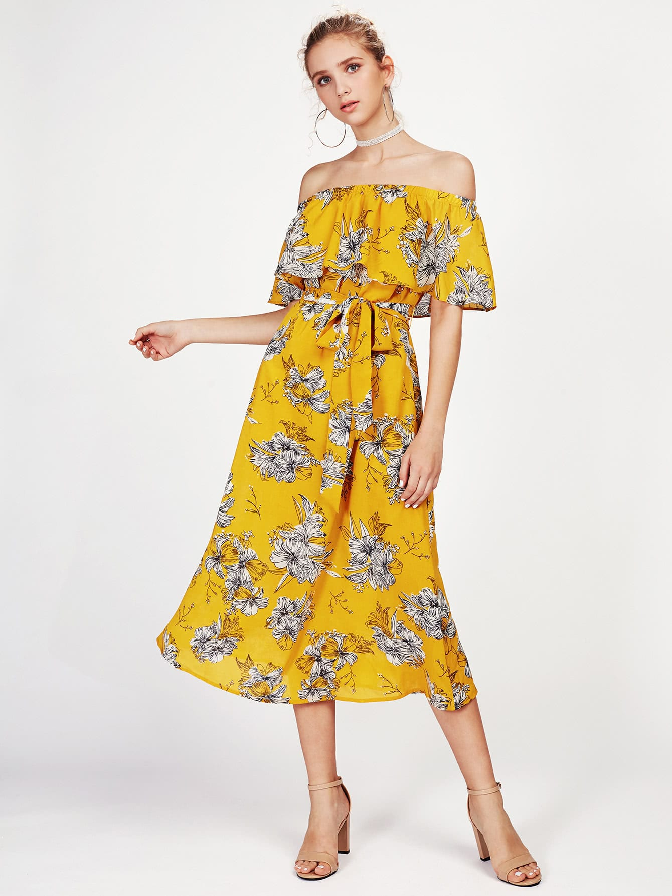 Фото Self Tie Flounce Off Shoulder Dress. Купить с доставкой