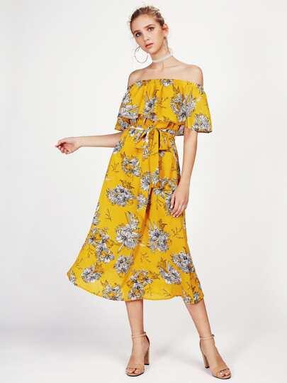 Self Tie Flounce Off Shoulder Dress