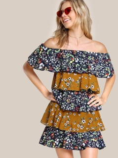 Off Shoulder Layered Botanical Dress