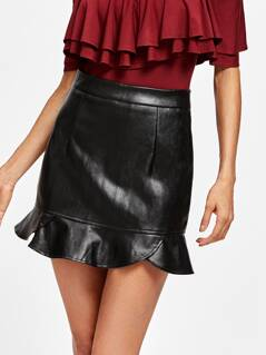 Frill Hem Faux Leather Skirt