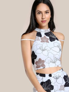 Floral Print High Neck Crop Top FLORAL