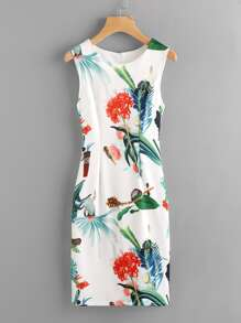 Random Jungle Print Sheath Dress