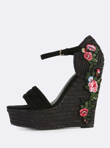 Cross Band Floral Embroidered Wedges BLACK