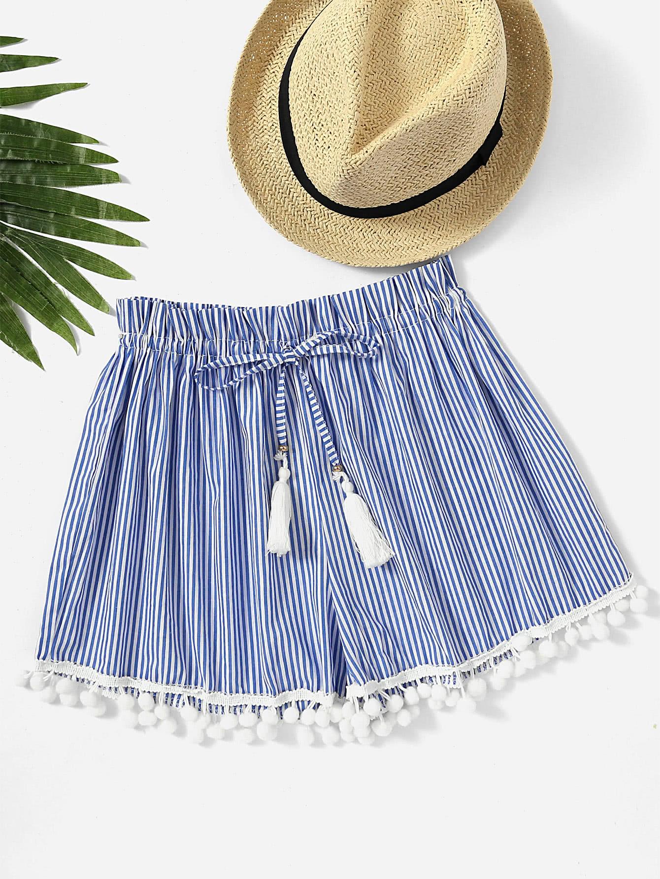 Vertical Striped Drawstring Waist Pompom Hem Shorts sweet wavy hem design striped shorts for women