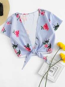 Plunging V-neckline Striped Floral Print Knot Front Top
