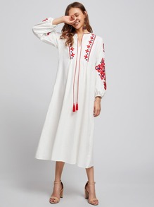 Embroidered Lantern Sleeve Fringe Dress