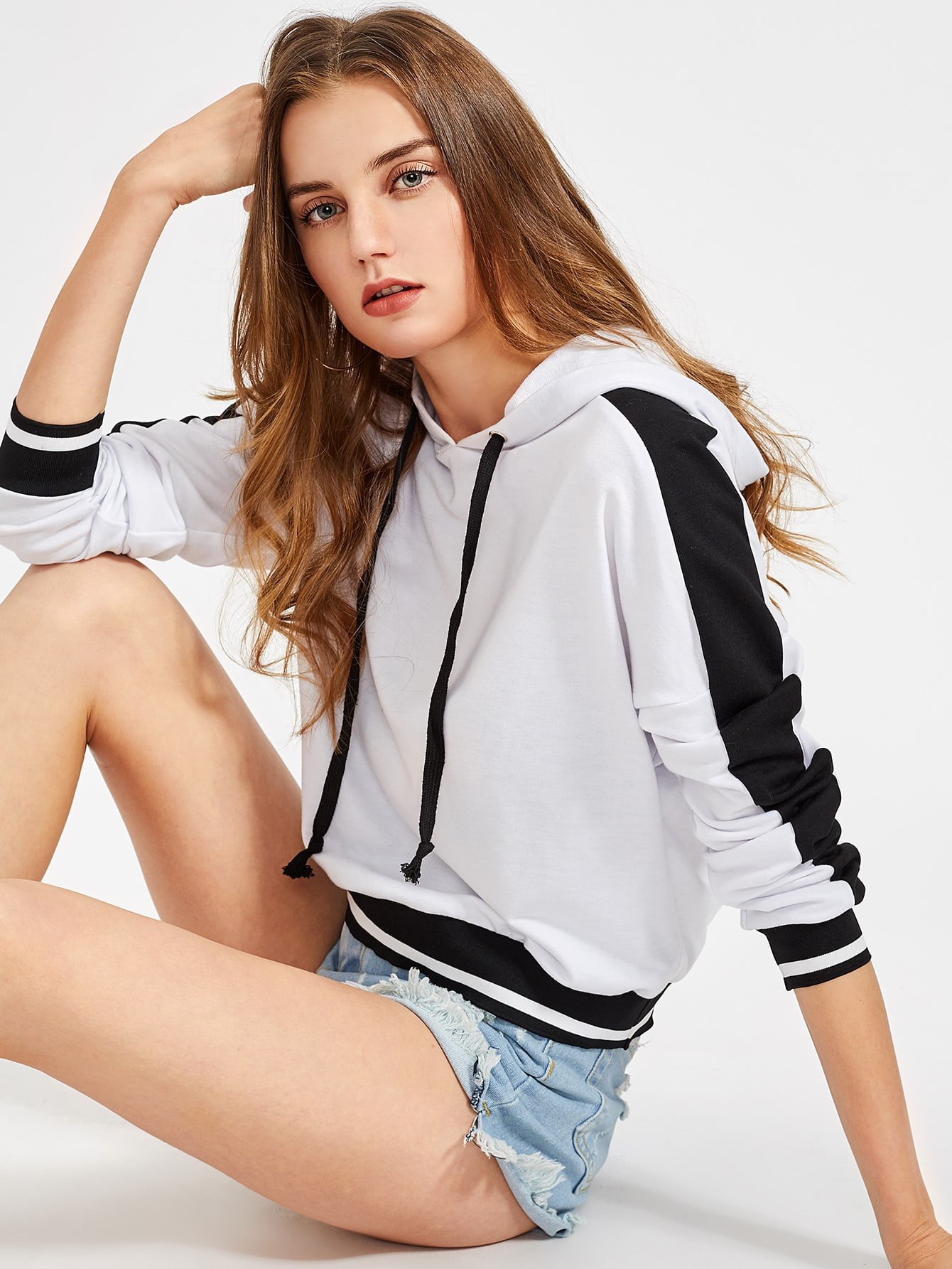 Striped Trim Contrast Panel Sleeve Hoodie striped trim fluffy panel bomber jacket