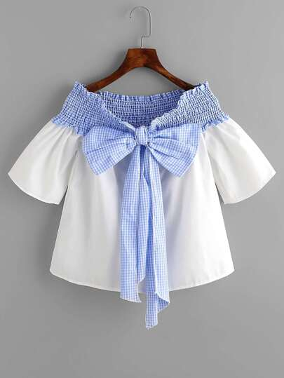 Contrast Gingham Bow Tie Shirred Top