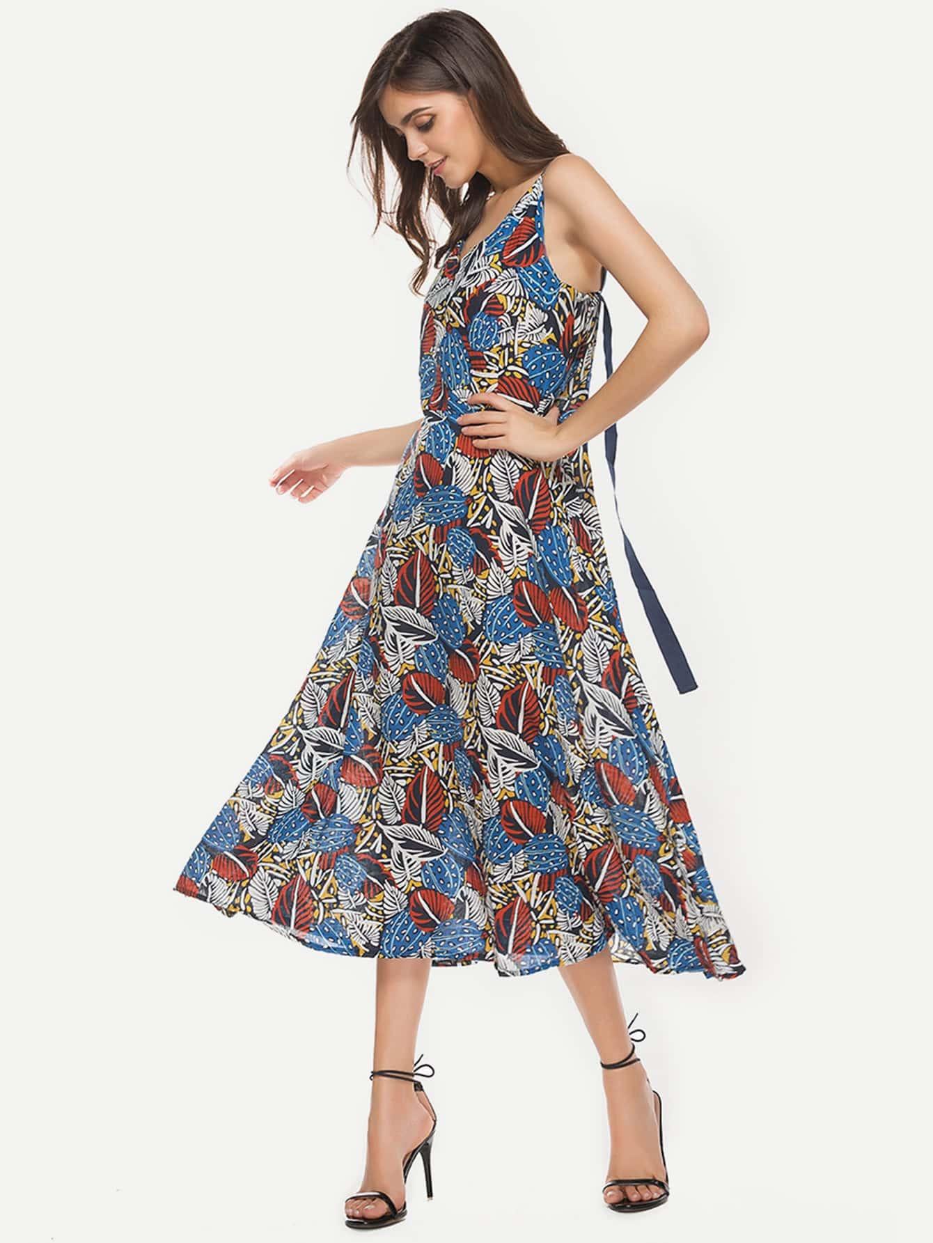 Фото Allover Leaves Print Ribbon Detail Swing Dress. Купить с доставкой