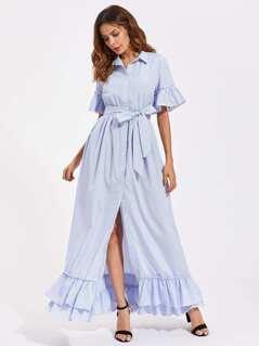 Trumpet Sleeve Layered Frill Hem Pinstripe Shirt Dress