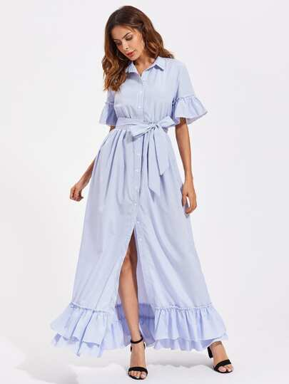 Trumpet Sleeve Layered Frill Hem Pinstripe Shirt Dress