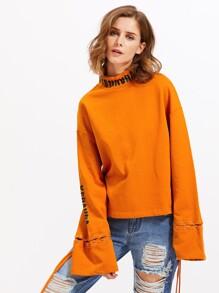 Zip Back Eyelet Lace Up Sleeve Sweatshirt