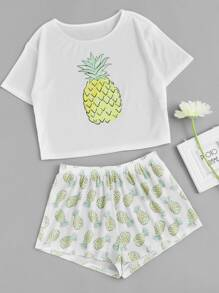 Pineapple Print Tee And Shorts Co-Ord