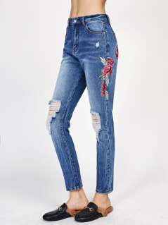 Flower Embroidered Knee Ripped Jeans