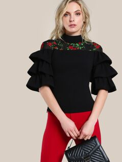 Mesh Cut Out Layered Sleeve Top