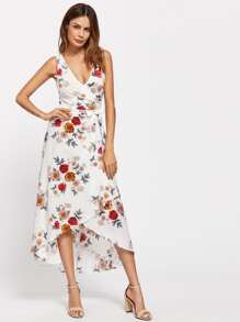 Surplice Front Plunge Neckline Botanical Print Dress