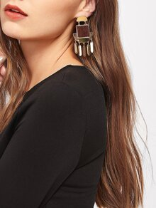 Geometric Drop Earrings With Square Wood