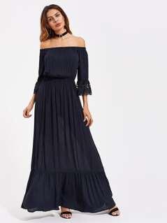 Lace Bell Cuff Frill Hem Bardot Dress