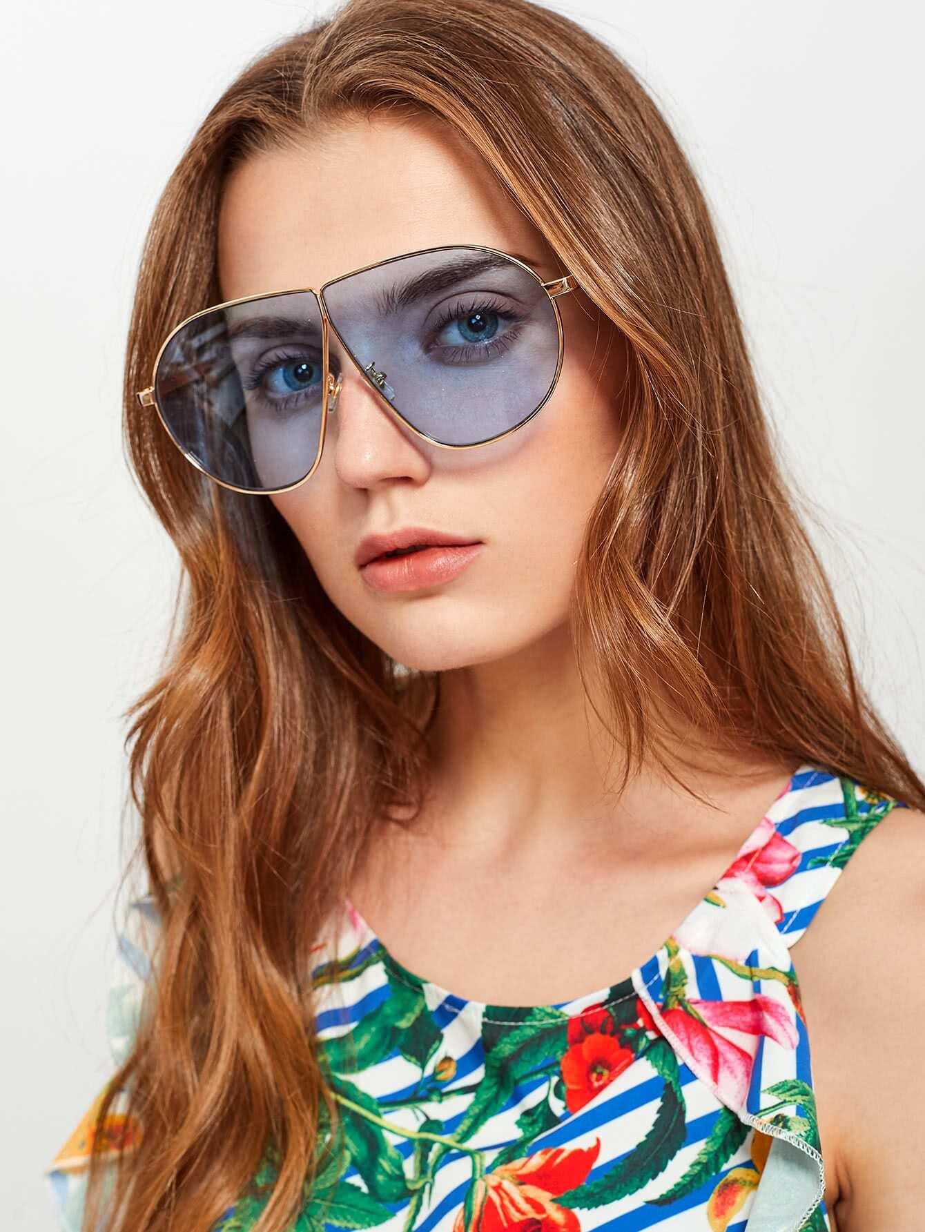 Tinted Lens Asymmetrical Sunglasses