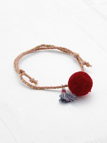 Pom Pom & Tassel Decorated Woven Bracelet