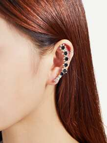 Rhinestone Flower Design Mismatch Ear Crawler