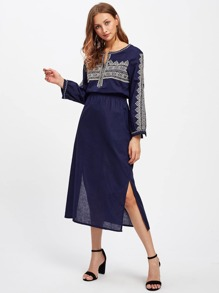 Split Side Tribal Embroidered Blouson Dress