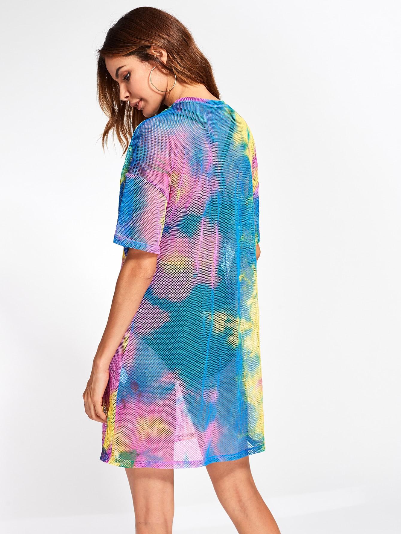 drop shoulder tie dye fishnet cover up dress shein sheinside