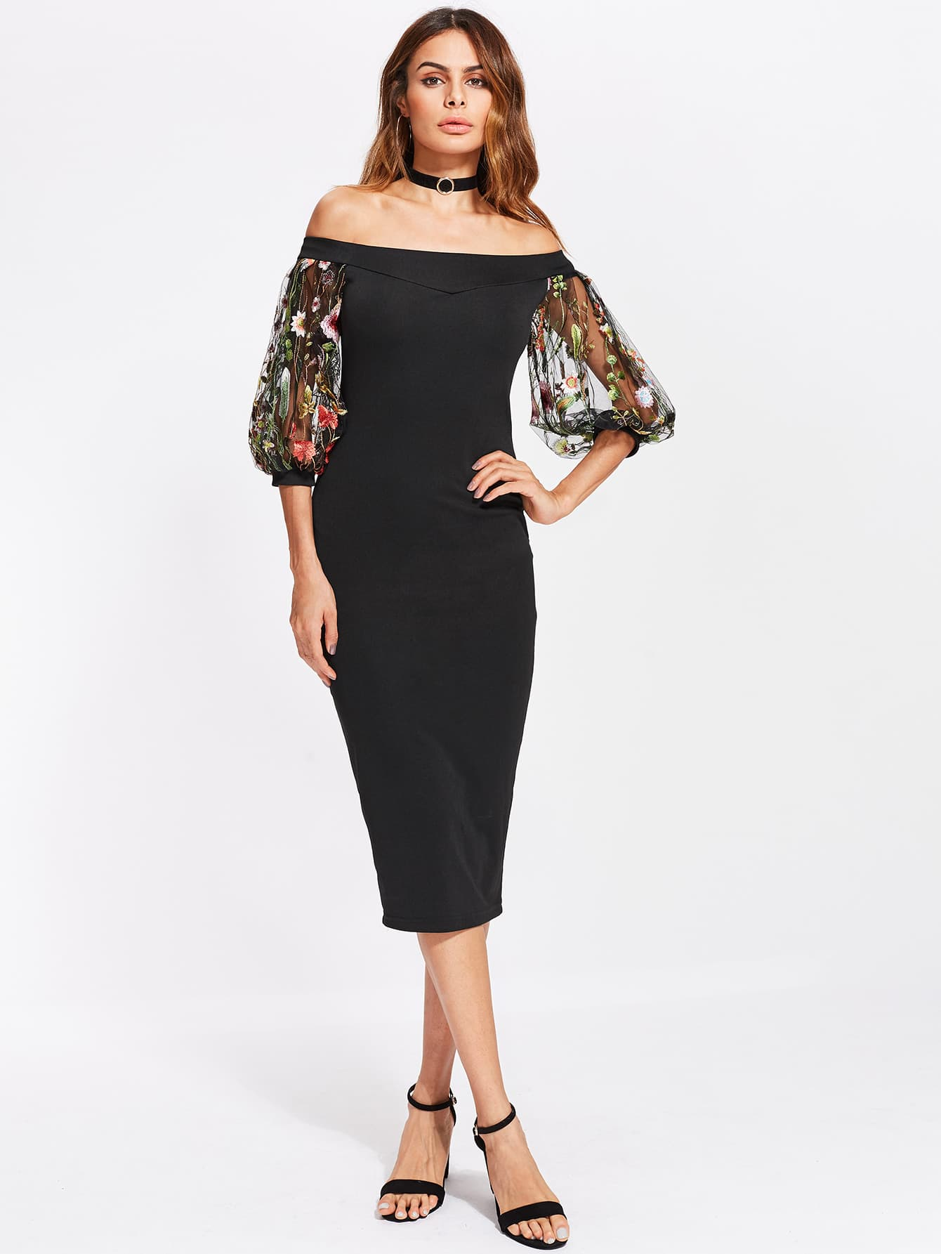 Bardot Dress With Embroidered Mesh Puff Sleeve bardot pencil dress with embroidered mesh sleeve