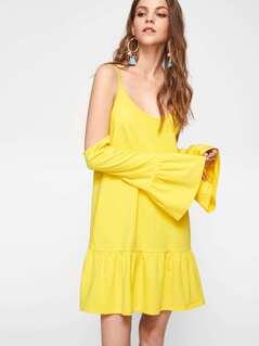 Fluted Sleeve Tiered Hem Dress
