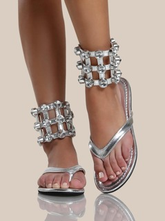 Thick Diamond Ankle Band Thong Sandals SILVER