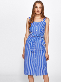 Button Up Belted Pinstripe Pinafore Dress