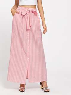 Belted Button Up Pinstripe Skirt