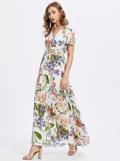 Tasseled Tie Smocked Waist Flower Print Dress