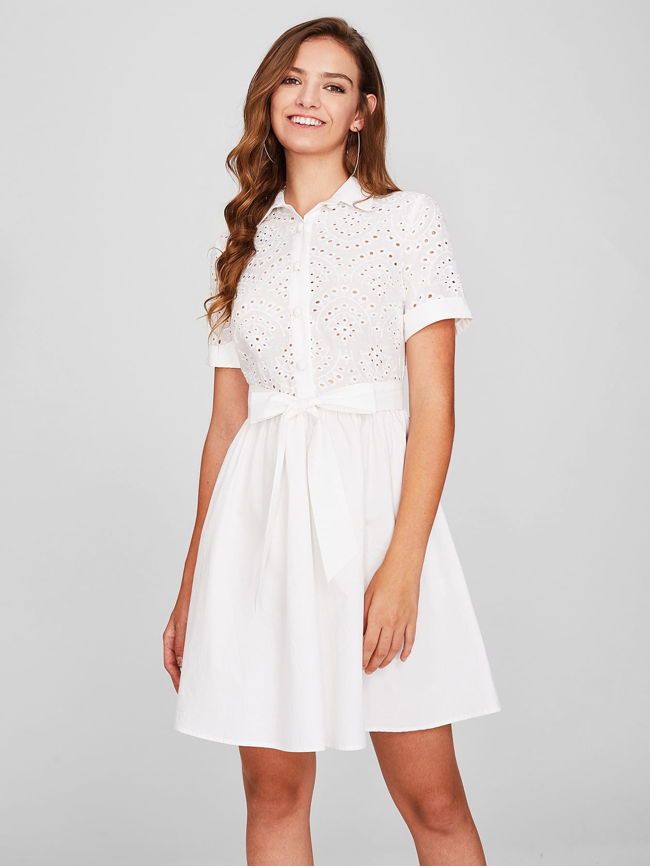 Eyelet Embroidered Bodice Bow Waist Fit & Flare Dress eyelet embroidered self belted dress