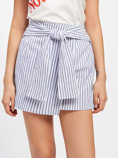 Vertical Striped Knotted Front Skirt