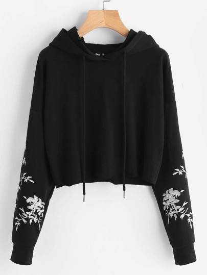 Drop Shoulder Raw Hem Embroidered Hoodie
