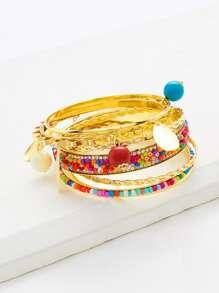 Rhinestone & Beaded Embellished Bangle Bracelet Set