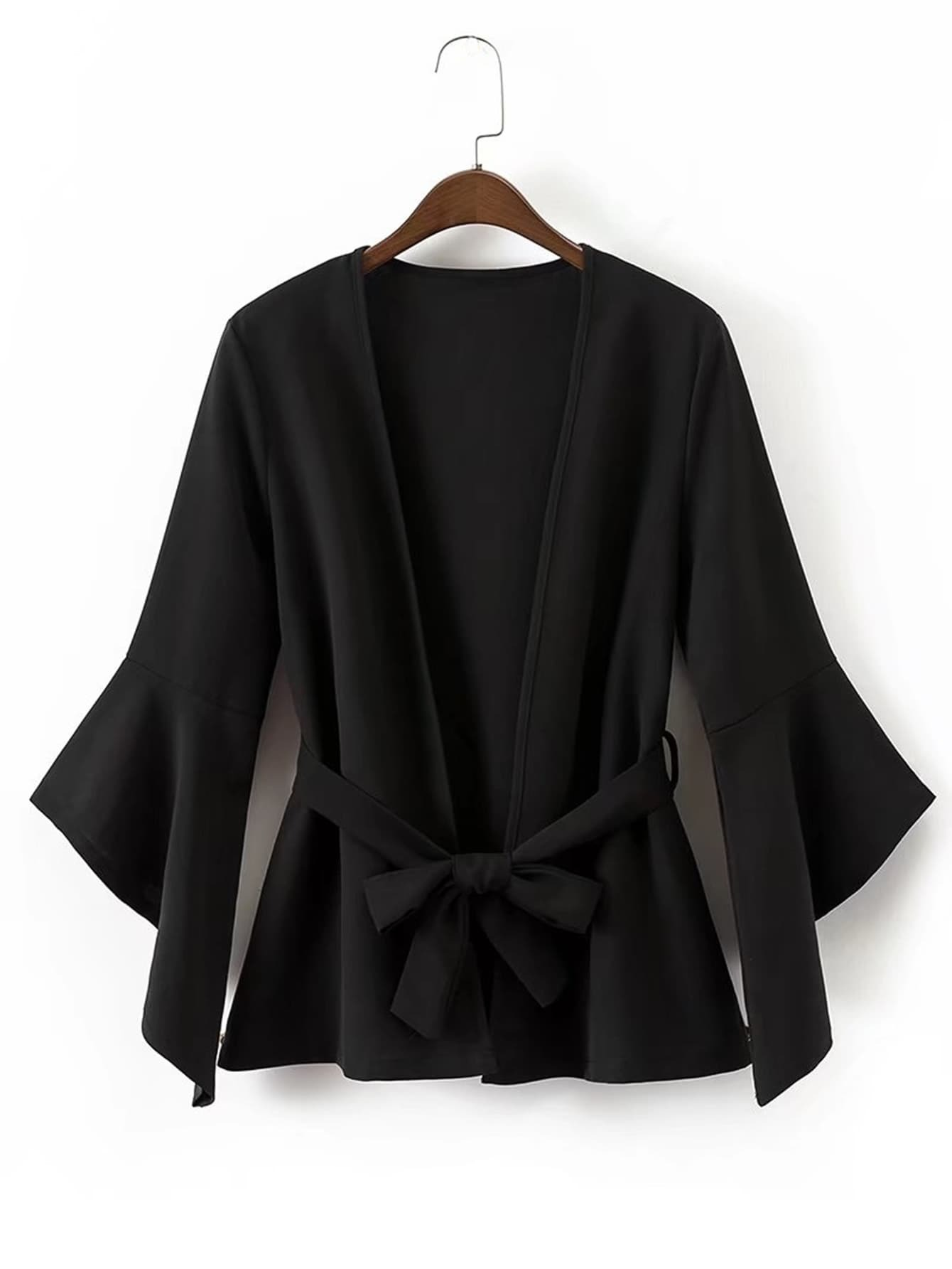 Image of Asymmetric Bell Sleeve Blazer With Self Tie