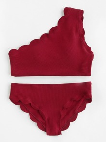 Scalloped Trim One Shoulder Bikini Set
